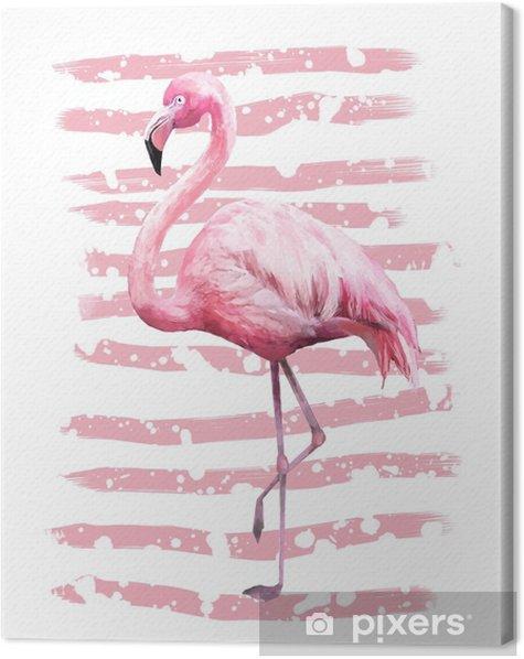 Leinwandbild Geometrisches Plakatdesign des tropischen Sommers mit Schmutzbeschaffenheiten. Aquarell rosa Vogel - Flamingo. exotischer abstrakter Hintergrund, Weinlese. handgemalte Abbildung. Kritzeleien Retro - Tiere