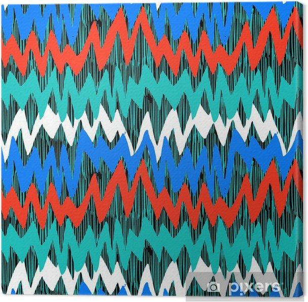 Leinwandbild Gestreiftes Hand gezeichnetes Muster mit Zickzacklinien - Grafische Elemente