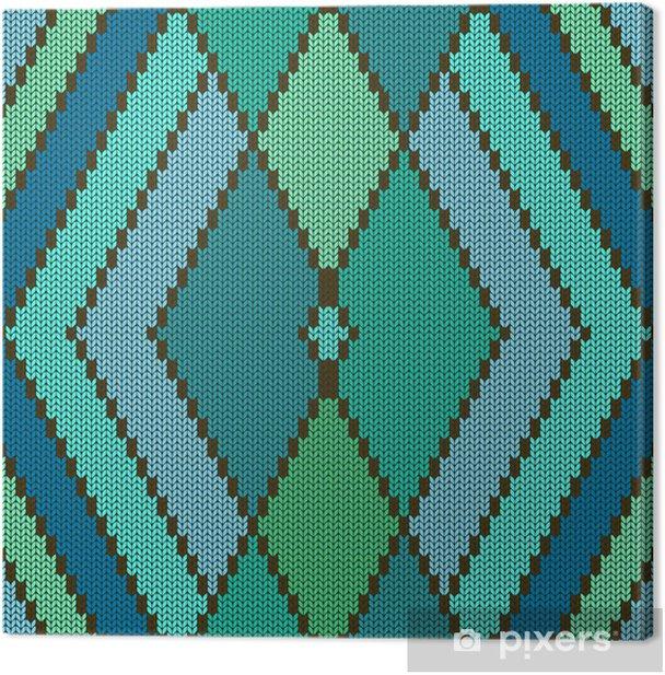 Leinwandbild Gestrickte nahtlose Muster mit Raute - Texturen