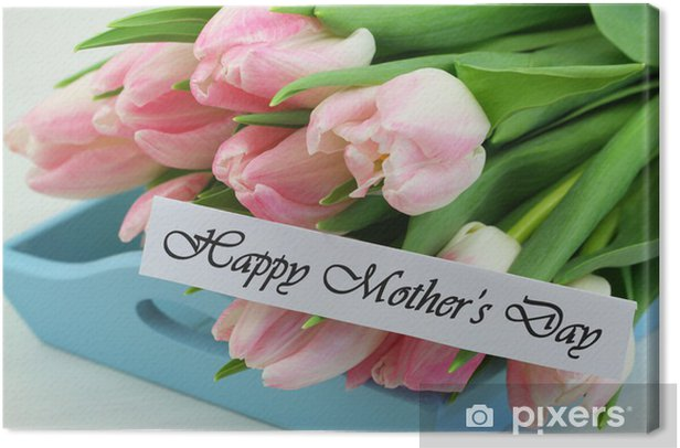Leinwandbild Glückliche Tag der Mutter Karte mit rosa Tulpen - Internationale Feste