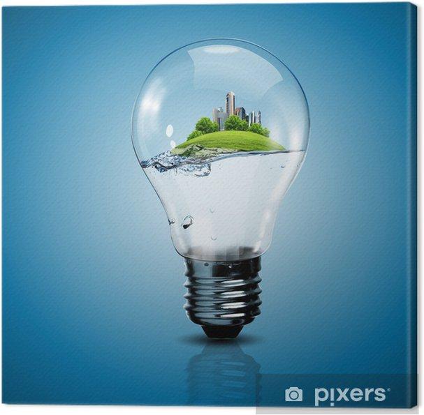 Leinwandbild Glühbirne und eine Anlage drin - Ökologie