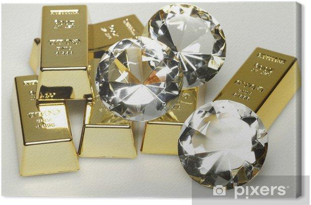 Leinwandbild Goldbarren und Diamanten - Zeichen und Symbole