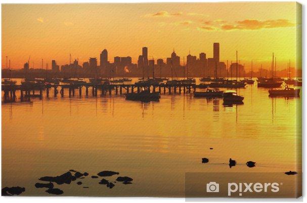Leinwandbild Golden Dawn über Melbourne - Ozeanien