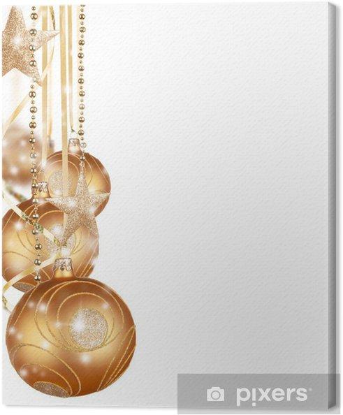 Goldene Weihnachtskugeln.Leinwandbild Goldene Weihnachtskugeln Auf Weißem Hintergrund