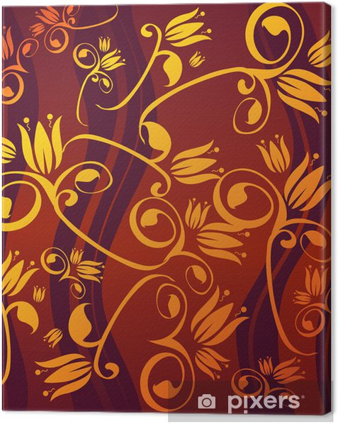 Leinwandbild Goldenen Blumen - Zeichen und Symbole