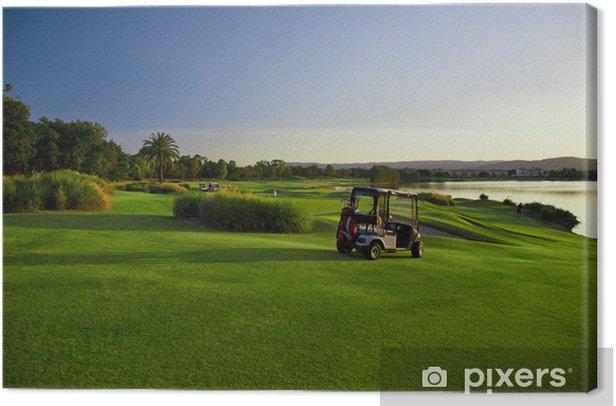 Leinwandbild Golfplatz und Buggys - Einzelsportarten