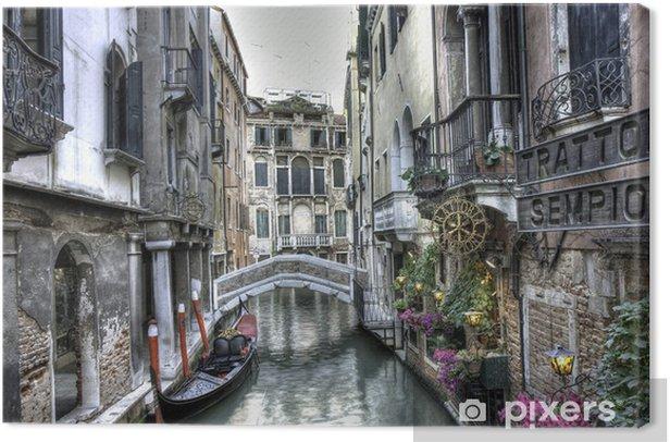 Leinwandbild Gondel, Palazzi und Bruecke, Venedig, Italien -