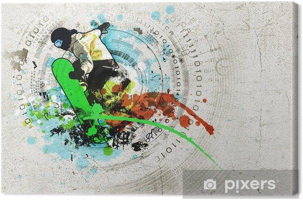 Leinwandbild Graffiti-Bild - Wintersport