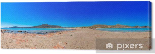 Leinwandbild Griechenland elafonisos Panoramablick auf das klare Wasser des Meeres mit blu - Europäische Städte