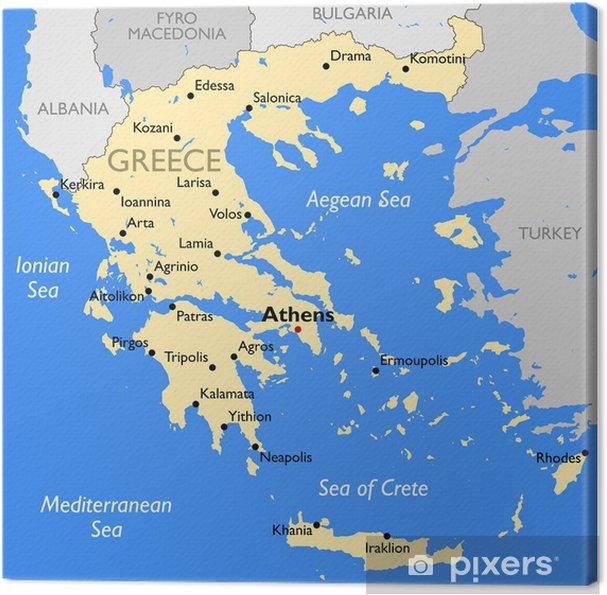 Karte Griechenland.Leinwandbild Griechenland Karte