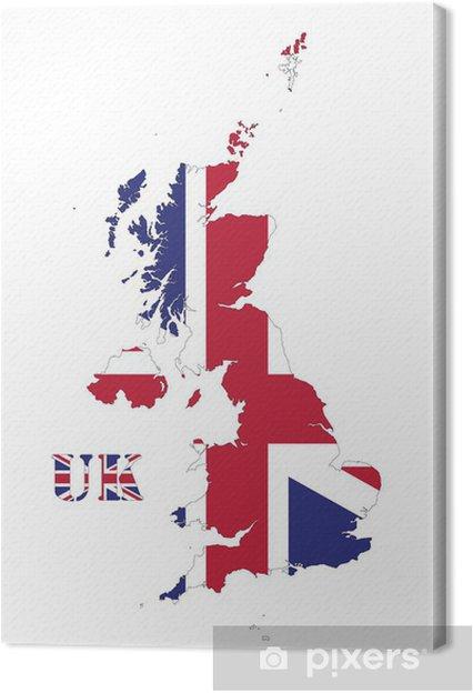 Großbritannien Karte Umriss.Leinwandbild Großbritannien Flaggen Karte