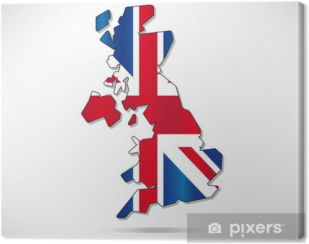 Großbritannien Karte Umriss.Leinwandbild Großbritannien Karte