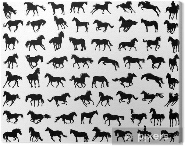Leinwandbild Große Reihe von Pferden Silhouetten - Säugetiere