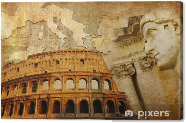 Leinwandbild Große römische Reich - konzeptionelle Collage im Retro-Stil - Europäische Städte
