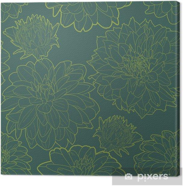 Leinwandbild Grün Jahrgang Blumenmuster mit aster - Texturen