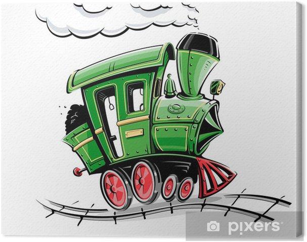 Leinwandbild Grün Retro Karikatur Lokomotive Vektor-Illustration isoliert auf - Straßenverkehr