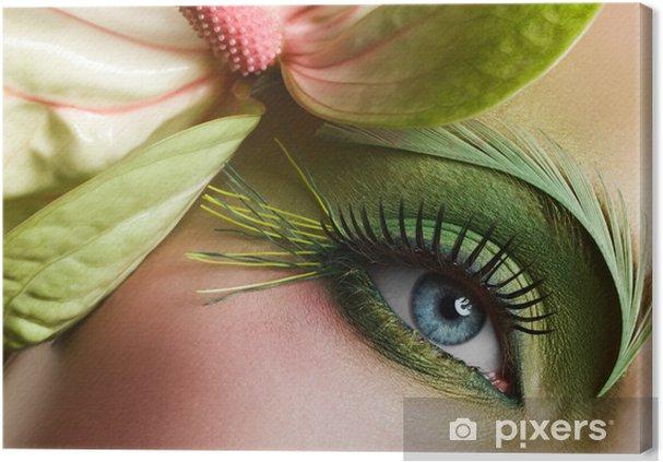 Leinwandbild Grüne Augen Make Up Mit Blume Pixers Wir Leben Um