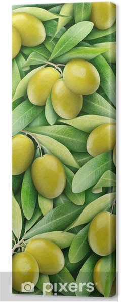 Leinwandbild Grüne Oliven Hintergrund - Oliven