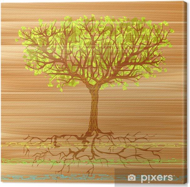 Leinwandbild Gruner Baum Mit Wurzeln Uber Ein Holzbrett Gemalt