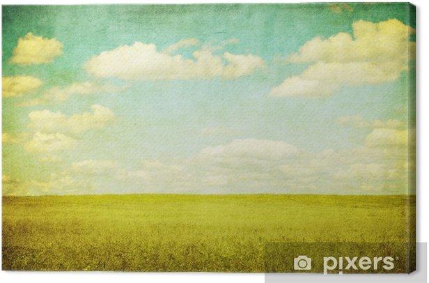 Leinwandbild Grunge Bild der grünen Wiese und blauer Himmel - Themen