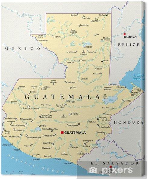 Guatemala Karte.Leinwandbild Guatemala Karte Guatemala Landkarte