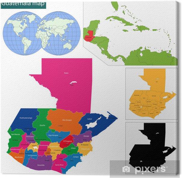 Guatemala Karte.Leinwandbild Guatemala Karte