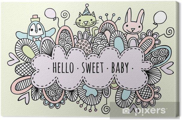 Leinwandbild Hallo Süße Baby-Hand gezeichnet Doodle Vector Lineart - Lifestyle