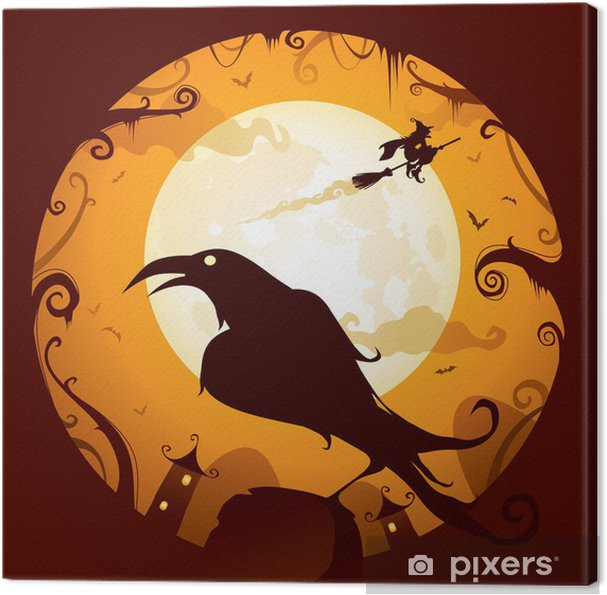 Leinwandbild Halloween - Crow in Halloween-Nacht - Internationale Feste