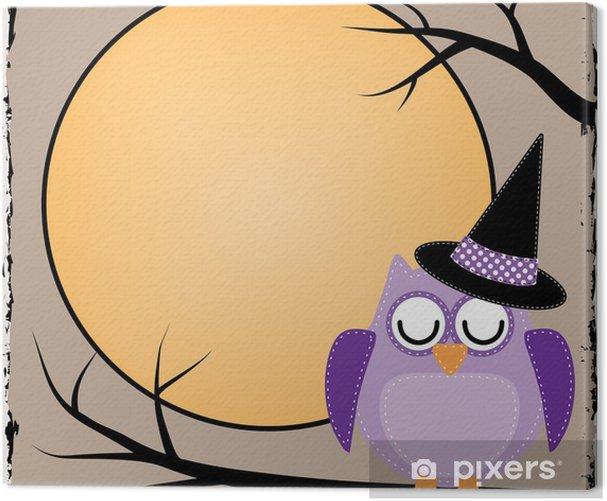Leinwandbild Halloween Eule mit Mond - Themen