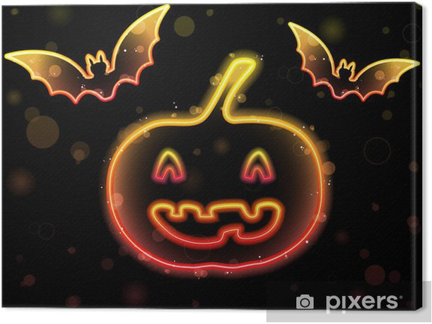 Leinwandbild Halloween Neon-Hintergrund mit Kürbis und Fledermäuse - Säugetiere