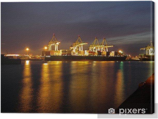 Leinwandbild Hamburg Hafen nachts - Europa
