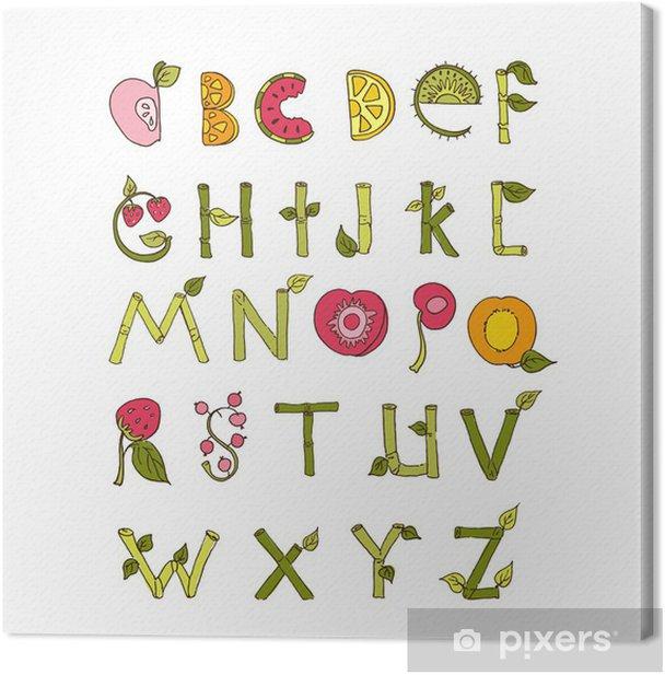 Leinwandbild Hand gezeichnet Alphabet - Natur-und Obst-Elemente. Doodle Schriftart. - Zeichen und Symbole