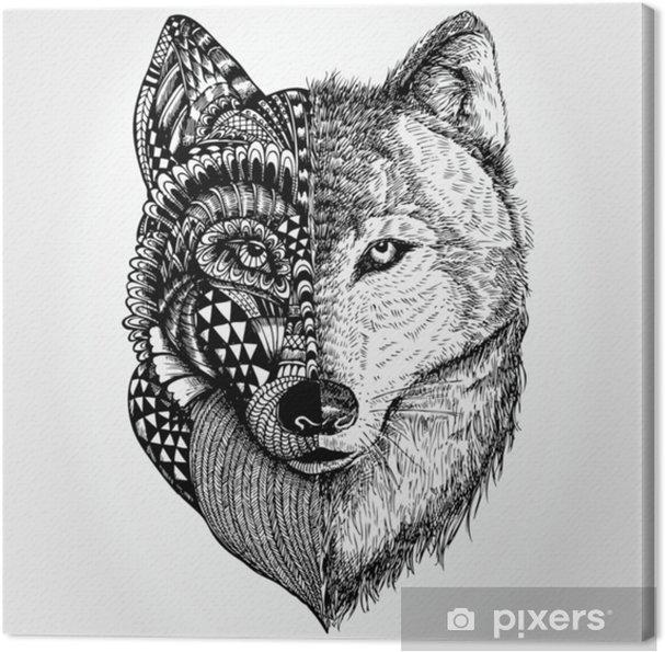 Leinwandbild Hand Gezeichneter Wolfskopf Zentangle Stilisiert