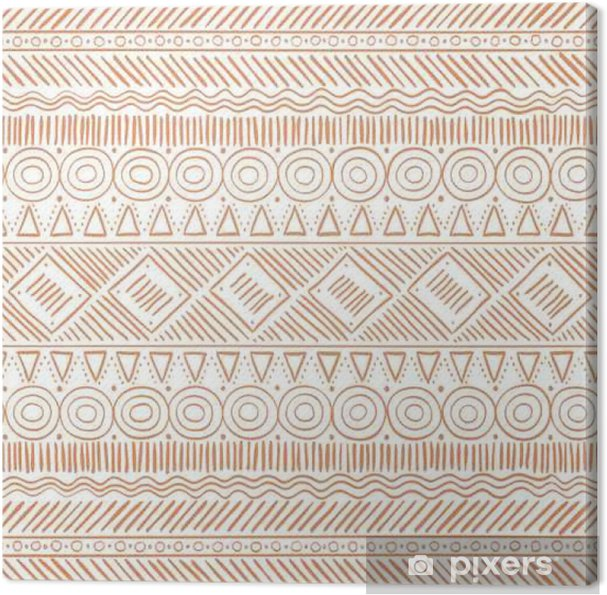 Leinwandbild Hand gezeichnetes Stammes- Boho nahtloses Muster. Ethnischer geometrischer Vektor-Druck. Hintergrund Textur. - Grafik-Ressourcen