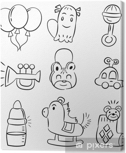 Leinwandbild Hand Zeichnen Cartoon Baby Produktsymbol Pixers