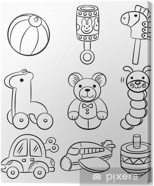 Leinwandbild Hand Zeichnen Cartoon Baby Spielzeug Symbol Pixers