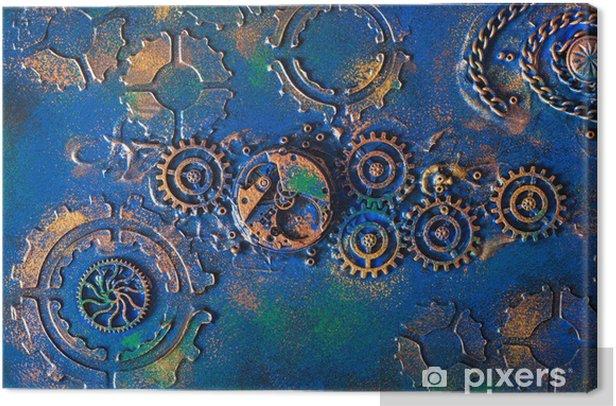 Leinwandbild handmade steampunk background mechanical cogs wheels clockwork - Steampunk