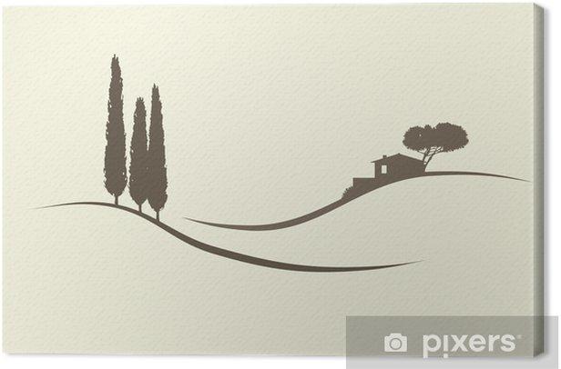Leinwandbild Haus mit Zypressen - Europa