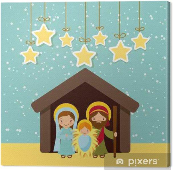 Frohe Weihnachten Familie.Leinwandbild Heilige Familie Krippe Szene Und Dekorativ Hängen Sterne Frohe Weihnachten Bunten Entwurf Vektor Illustration