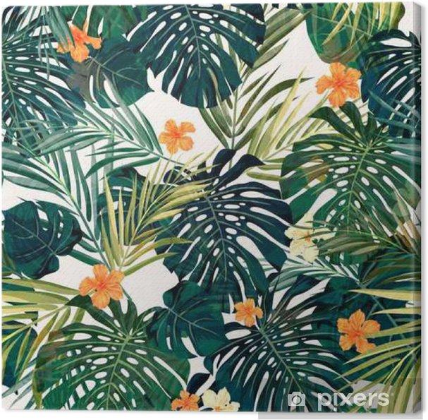 Leinwandbild Helle bunte tropische nahtlose Hintergrund mit Blättern und - Pflanzen und Blumen