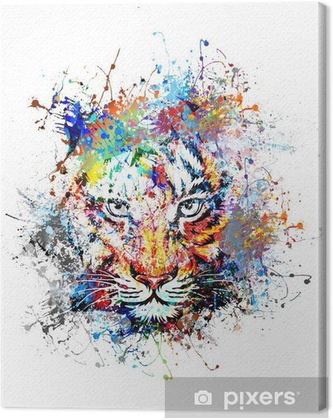 Leinwandbild Hellen Hintergrund mit Tiger - Wissenschaft und Natur