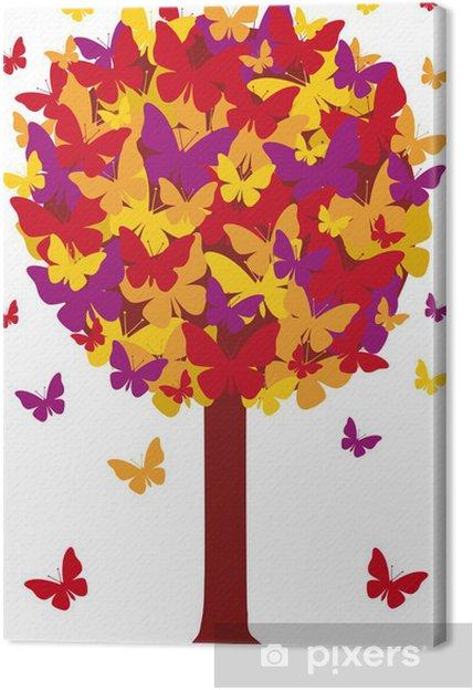 Leinwandbild Herbst Baum mit Schmetterling Blätter, Vektor- - Jahreszeiten