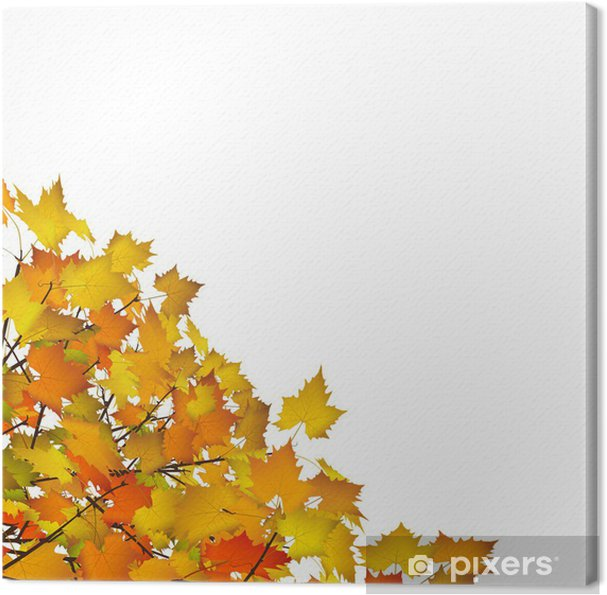 Leinwandbild Herbst Blätter Ecke Dekoration Vorlage