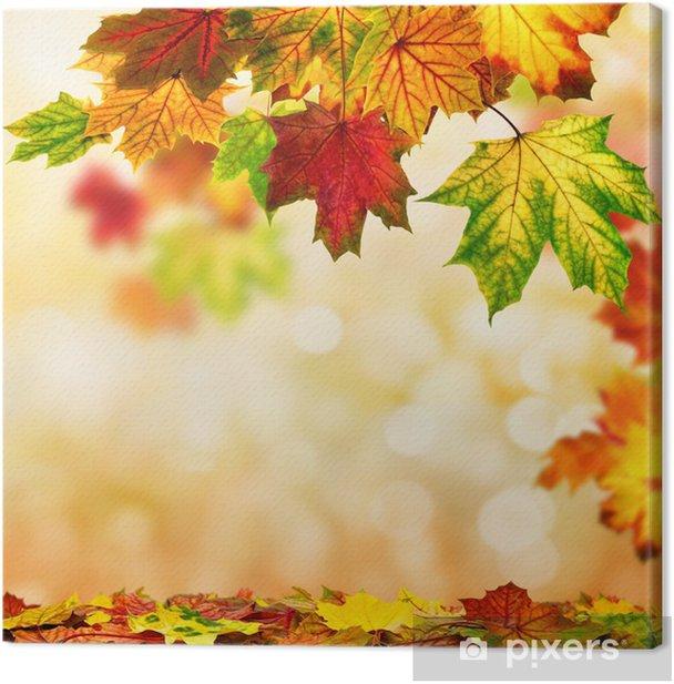 Leinwandbild Herbst Hintergrund umrahmt mit buntem Laub - Jahreszeiten