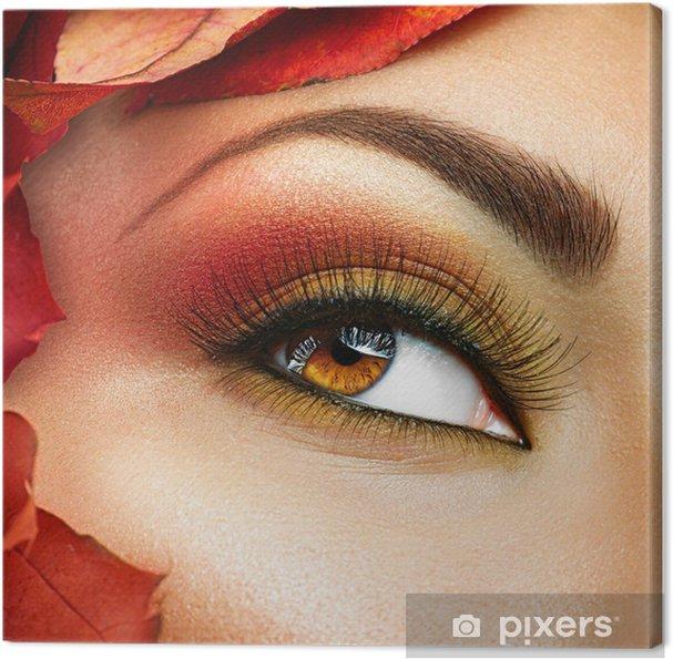 Leinwandbild Herbst Make Up Für Braune Augen Closeup Fashion Make