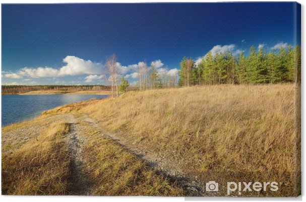 Leinwandbild Herbst See Landschaft vor blauem Himmel - Wasser