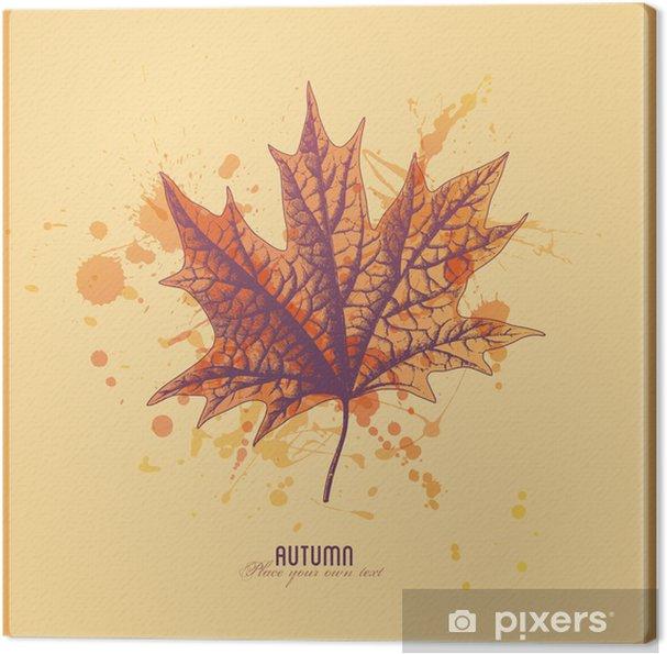 Leinwandbild Herbstblatt mit Aquarell splats - Themen