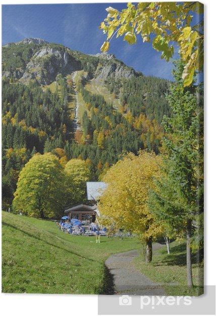 Leinwandbild Herbstlich gefärbte Bäume bei Oberstdorf im Allgäu - Jahreszeiten