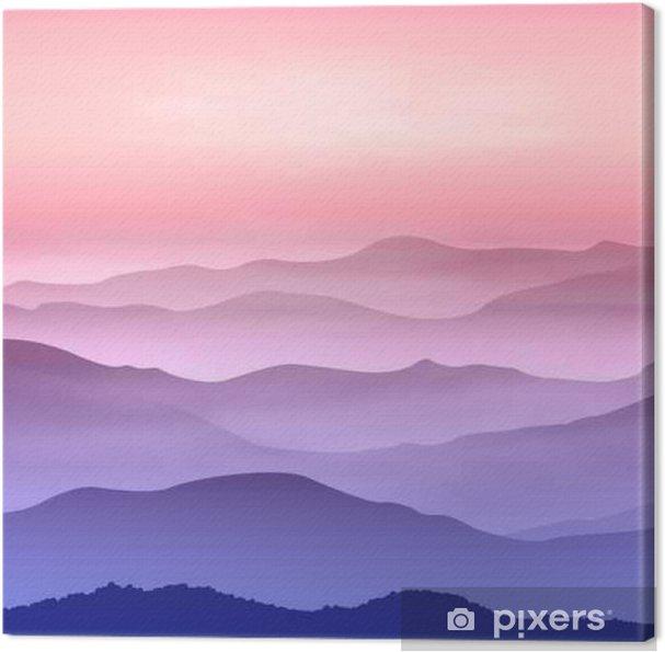Leinwandbild Hintergrund mit Bergen im Nebel. Sonnenuntergangzeit. - Landschaften