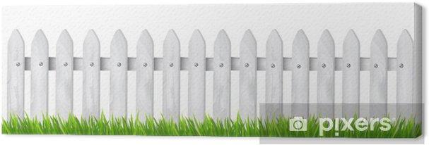 Leinwandbild Hintergrund mit einem weißen Holzzaun mit Gras. Vektor. - Haus und Garten